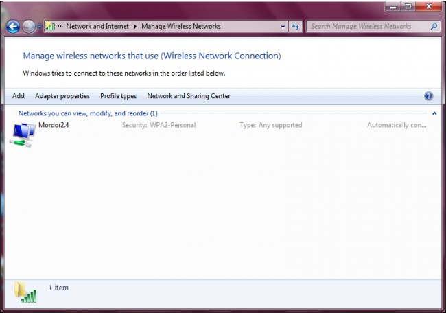 Wireless Network connection Windows 7