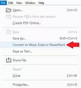 convert to word, excel or powerpoint