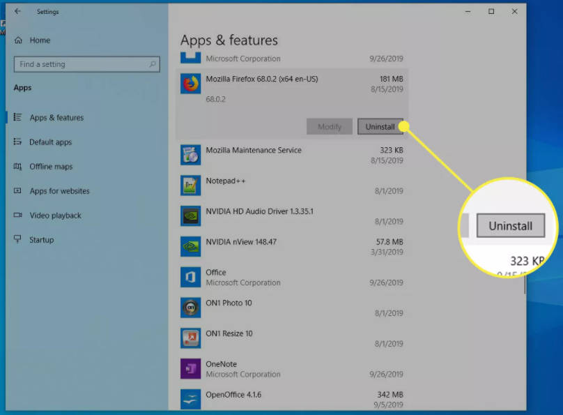 uninstall aplikasi di windows 10