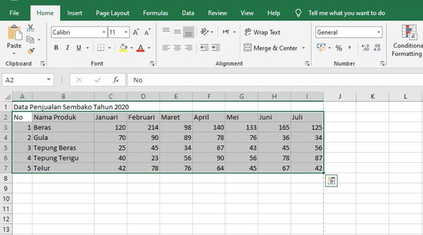 cara membuat diagram di excel dengan banyak data