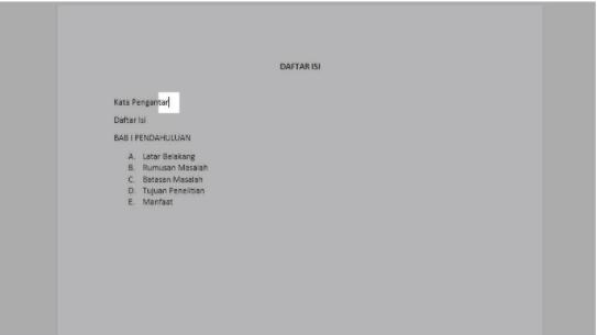 cara membuat titik daftar isi word