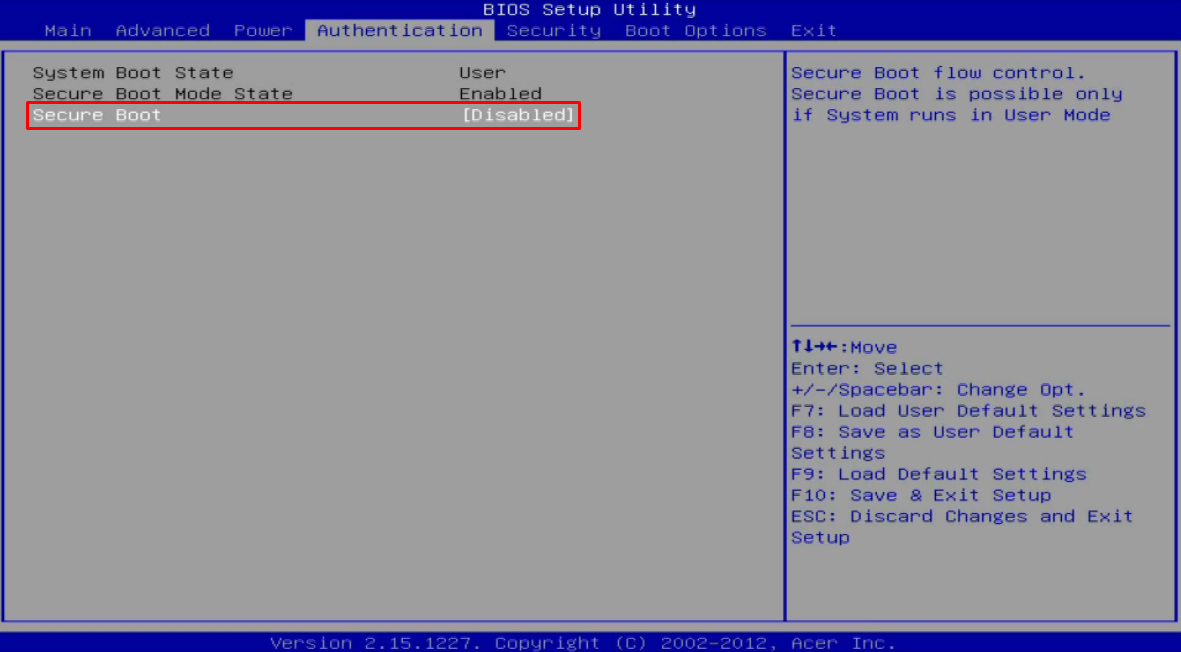 cara disable secure boot
