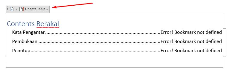 cara update daftar isi word otomatis