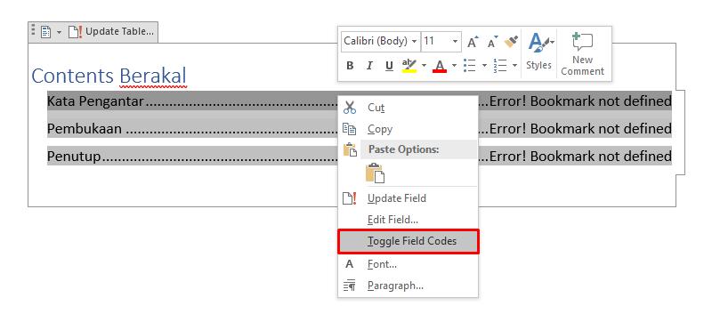 error bookmark not defined daftar isi