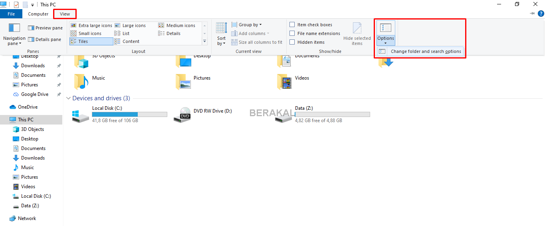 pengaturan folder windows explorer